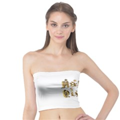 Happy Diwali Gold Golden Stars Star Festival Of Lights Deepavali Typography Tube Top by yoursparklingshop