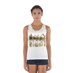 Happy Diwali Gold Golden Stars Star Festival Of Lights Deepavali Typography Sport Tank Top  by yoursparklingshop