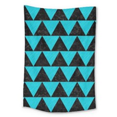 Triangle2 Black Marble & Turquoise Colored Pencil Large Tapestry by trendistuff