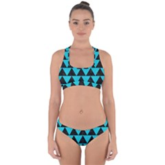 Triangle2 Black Marble & Turquoise Colored Pencil Cross Back Hipster Bikini Set by trendistuff