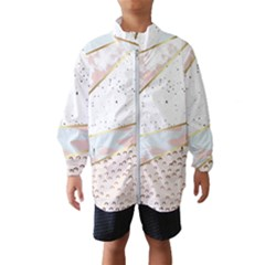 Collage,white Marble,gold,silver,black,white,hand Drawn, Modern,trendy,contemporary,pattern Wind Breaker (kids) by 8fugoso