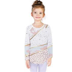 Collage,white Marble,gold,silver,black,white,hand Drawn, Modern,trendy,contemporary,pattern Kids  Long Sleeve Tee by 8fugoso