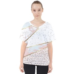 Collage,white Marble,gold,silver,black,white,hand Drawn, Modern,trendy,contemporary,pattern V Neck Dolman Drape Top by 8fugoso