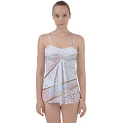 Collage,white Marble,gold,silver,black,white,hand Drawn, Modern,trendy,contemporary,pattern Babydoll Tankini Set by 8fugoso