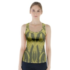Art Nouveau Green Racer Back Sports Top by 8fugoso