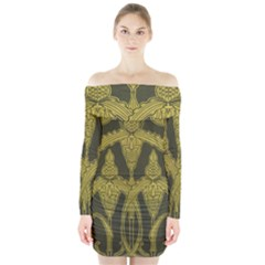 Art Nouveau Green Long Sleeve Off Shoulder Dress by 8fugoso
