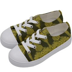 Art Nouveau Green Kids  Low Top Canvas Sneakers by 8fugoso