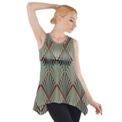 Art Deco Teal Brown Side Drop Tank Tunic by 8fugoso