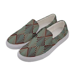 Art Deco Teal Brown Women s Canvas Slip Ons by 8fugoso