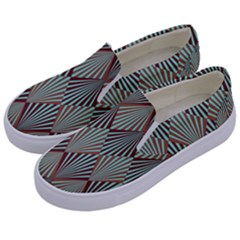 Art Deco Teal Brown Kids  Canvas Slip Ons by 8fugoso