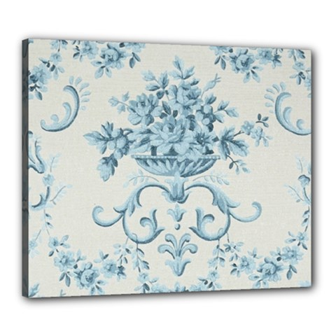 Blue Vintage Floral  Canvas 24  X 20  by 8fugoso