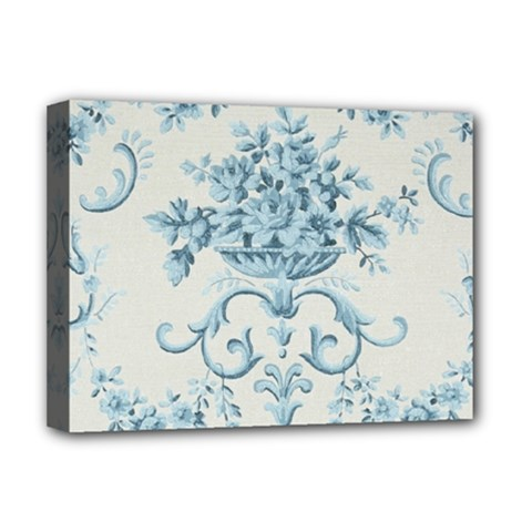 Blue Vintage Floral  Deluxe Canvas 16  X 12   by 8fugoso