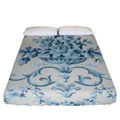 Blue Vintage Floral  Fitted Sheet (california King Size) by 8fugoso