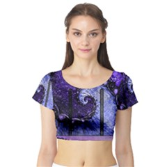 Beautiful Violet Spiral For Nocturne Of Scorpio Short Sleeve Crop Top by jayaprime