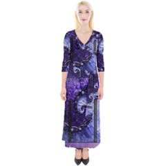 Beautiful Violet Spiral For Nocturne Of Scorpio Quarter Sleeve Wrap Maxi Dress