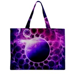 Beautiful Violet Nasa Deep Dream Fractal Mandala Zipper Mini Tote Bag by jayaprime