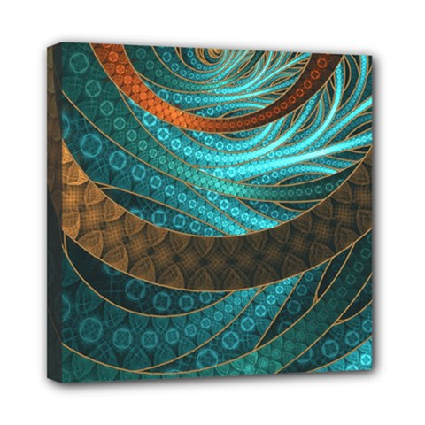 Beautiful Leather & Blue Turquoise Fractal Jewelry Mini Canvas 8  X 8