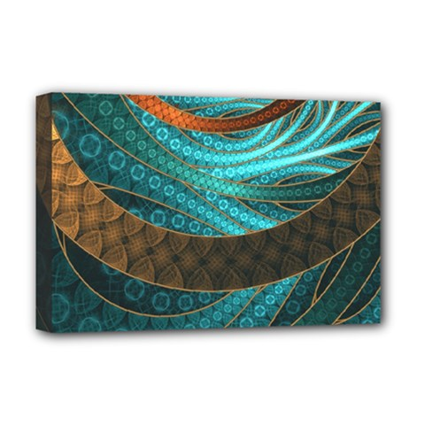 Beautiful Leather & Blue Turquoise Fractal Jewelry Deluxe Canvas 18  X 12   by jayaprime