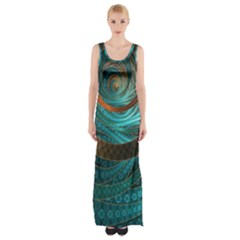 Beautiful Leather & Blue Turquoise Fractal Jewelry Maxi Thigh Split Dress by jayaprime