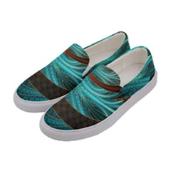 Beautiful Leather & Blue Turquoise Fractal Jewelry Women s Canvas Slip Ons by jayaprime