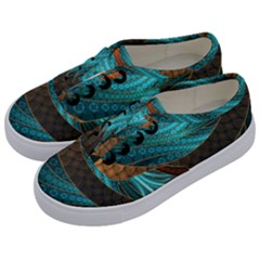 Beautiful Leather & Blue Turquoise Fractal Jewelry Kids  Classic Low Top Sneakers by jayaprime