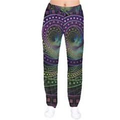 Oz The Great With Technicolor Fractal Rainbow Drawstring Pants by jayaprime