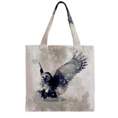 Cute Owl In Watercolor Grocery Tote Bag by FantasyWorld7
