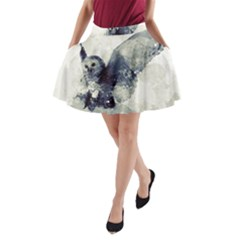 Cute Owl In Watercolor A Line Pocket Skirt by FantasyWorld7