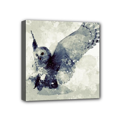 Cute Owl In Watercolor Mini Canvas 4  X 4  by FantasyWorld7