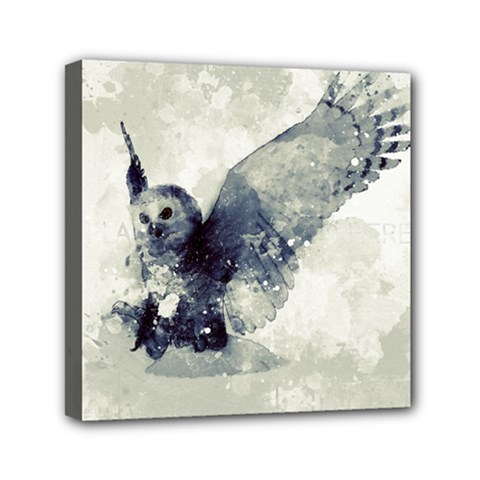 Cute Owl In Watercolor Mini Canvas 6  X 6  by FantasyWorld7