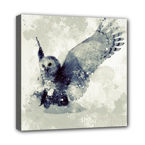Cute Owl In Watercolor Mini Canvas 8  X 8  by FantasyWorld7
