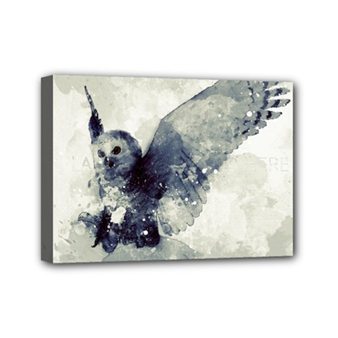 Cute Owl In Watercolor Mini Canvas 7  X 5  by FantasyWorld7