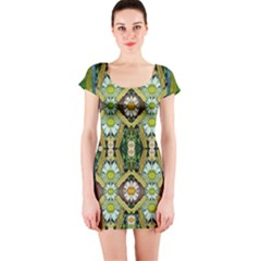 Bread Sticks And Fantasy Flowers In A Rainbow Short Sleeve Bodycon Dress