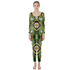 Bread Sticks And Fantasy Flowers In A Rainbow Long Sleeve Catsuit