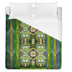 Bread Sticks And Fantasy Flowers In A Rainbow Duvet Cover (Queen Size)