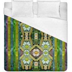 Bread Sticks And Fantasy Flowers In A Rainbow Duvet Cover (King Size)