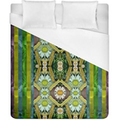 Bread Sticks And Fantasy Flowers In A Rainbow Duvet Cover (California King Size)