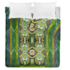 Bread Sticks And Fantasy Flowers In A Rainbow Duvet Cover Double Side (Queen Size)