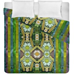 Bread Sticks And Fantasy Flowers In A Rainbow Duvet Cover Double Side (King Size)