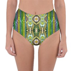Bread Sticks And Fantasy Flowers In A Rainbow Reversible High-Waist Bikini Bottoms