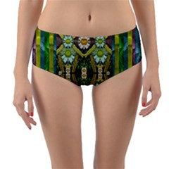 Bread Sticks And Fantasy Flowers In A Rainbow Reversible Mid-Waist Bikini Bottoms