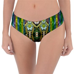 Bread Sticks And Fantasy Flowers In A Rainbow Reversible Classic Bikini Bottoms