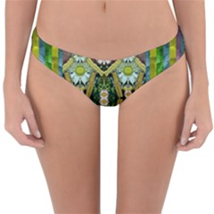 Bread Sticks And Fantasy Flowers In A Rainbow Reversible Hipster Bikini Bottoms