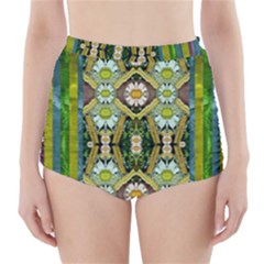 Bread Sticks And Fantasy Flowers In A Rainbow High-Waisted Bikini Bottoms