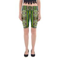 Bread Sticks And Fantasy Flowers In A Rainbow Yoga Cropped Leggings