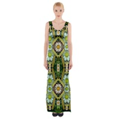 Bread Sticks And Fantasy Flowers In A Rainbow Maxi Thigh Split Dress