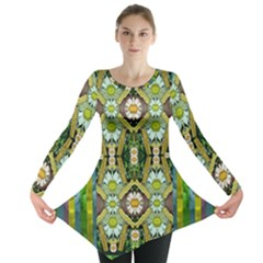 Bread Sticks And Fantasy Flowers In A Rainbow Long Sleeve Tunic