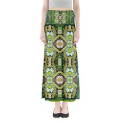 Bread Sticks And Fantasy Flowers In A Rainbow Full Length Maxi Skirt