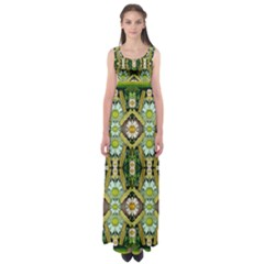 Bread Sticks And Fantasy Flowers In A Rainbow Empire Waist Maxi Dress