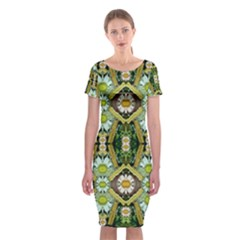 Bread Sticks And Fantasy Flowers In A Rainbow Classic Short Sleeve Midi Dress